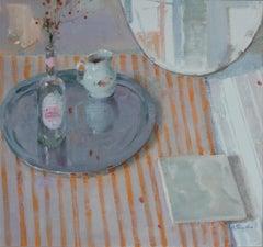 Still Life With a Silver Platter -Valeria Privalikhina Contemporary Oil Painting