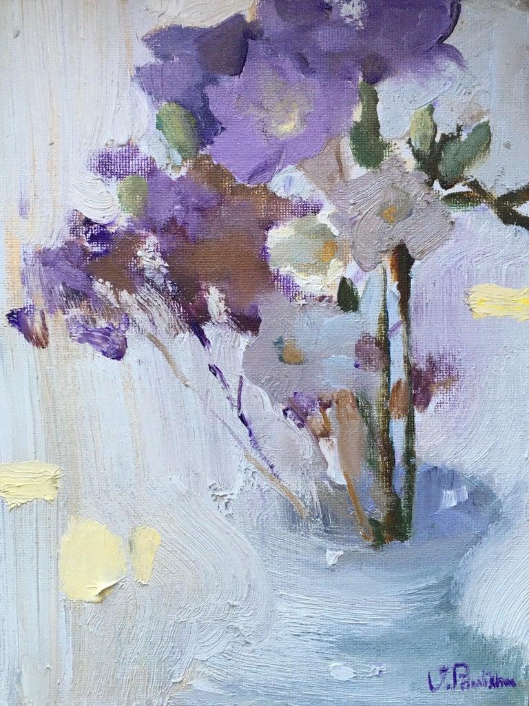 Valeria Privalikhina Figurative Painting - Freesia - 21st Century Contemporary Minimalist Floral Oil Painting