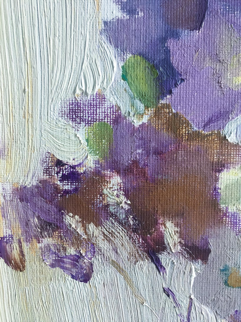 Freesia - 21st Century Contemporary Minimalist Floral Oil Painting  - Gray Figurative Painting by Valeria Privalikhina