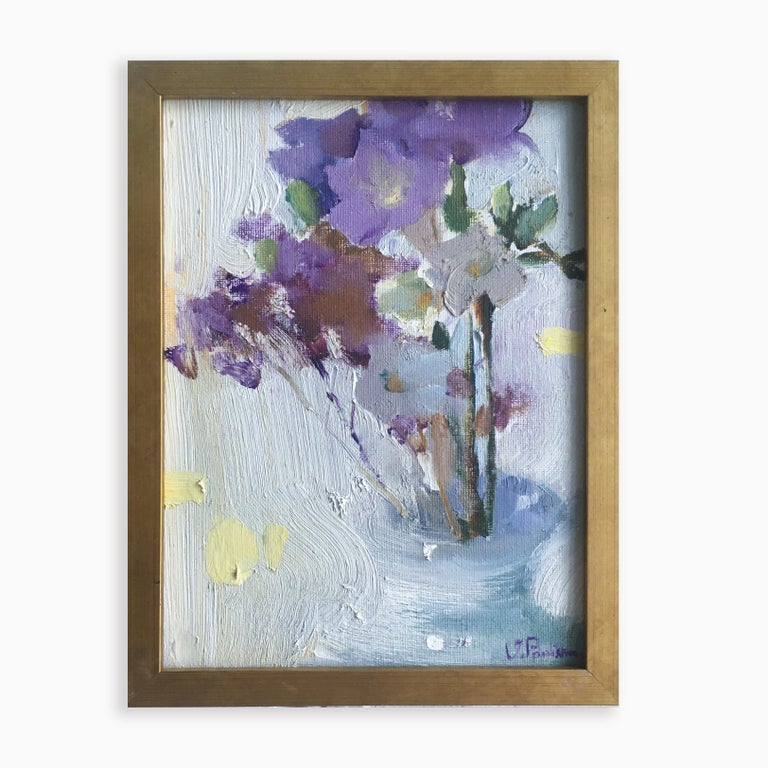 Freesia - 21st Century Contemporary Minimalist Floral Oil Painting  For Sale 1