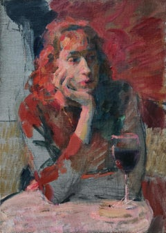 Female With a Glass of Wine - 21st Century Contemporary Paris Cafe Oil Painting