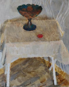Still Life With a Vase - 21st Century Contemporary Minimalist Oil Painting
