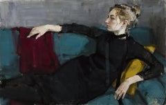 Valeria On a Green Sofa - 21st Century Contemporary Oil Portrait Painting