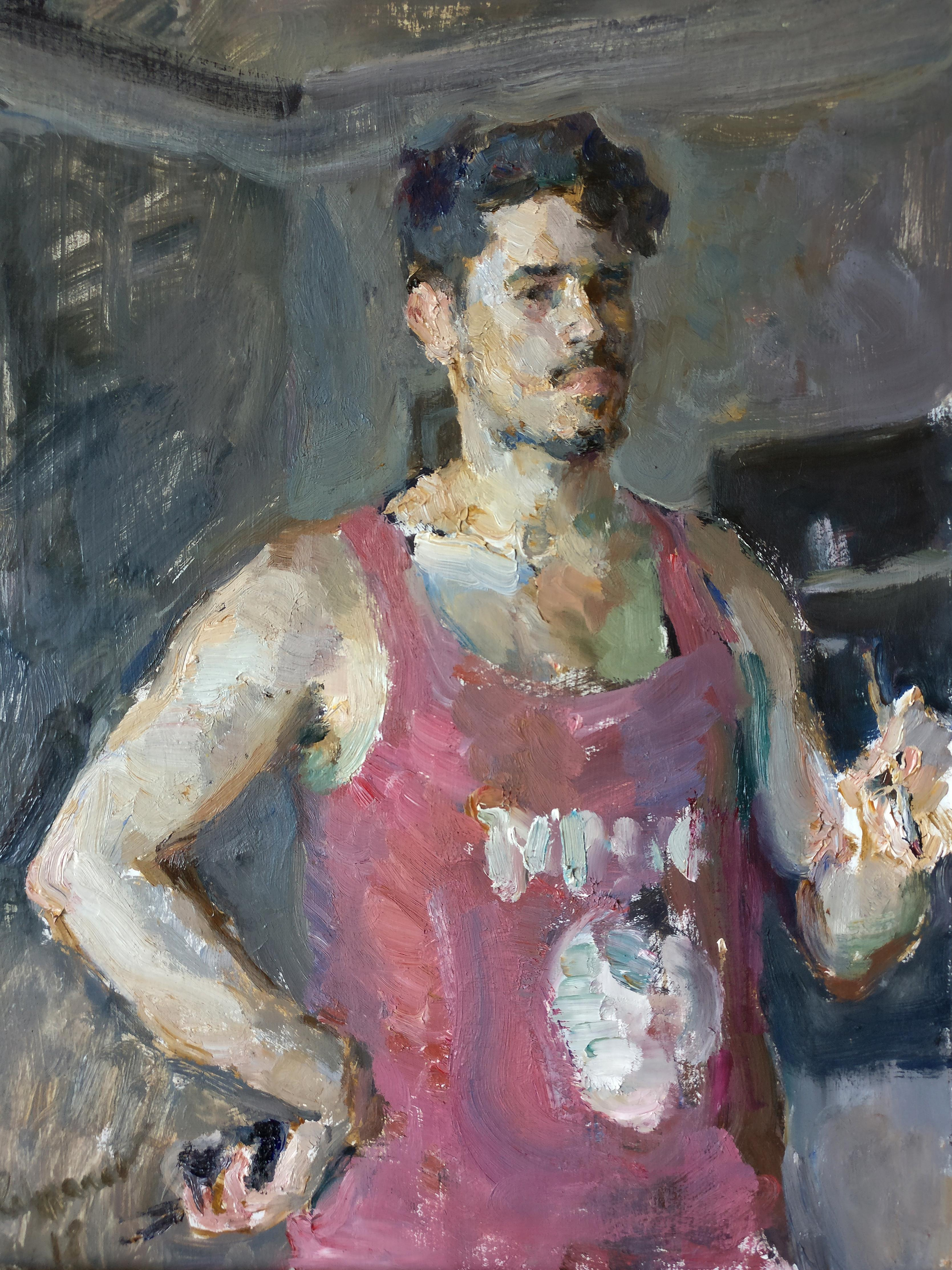 Self Portrait With a Brush - 21st Century Contemporary Oil Painting