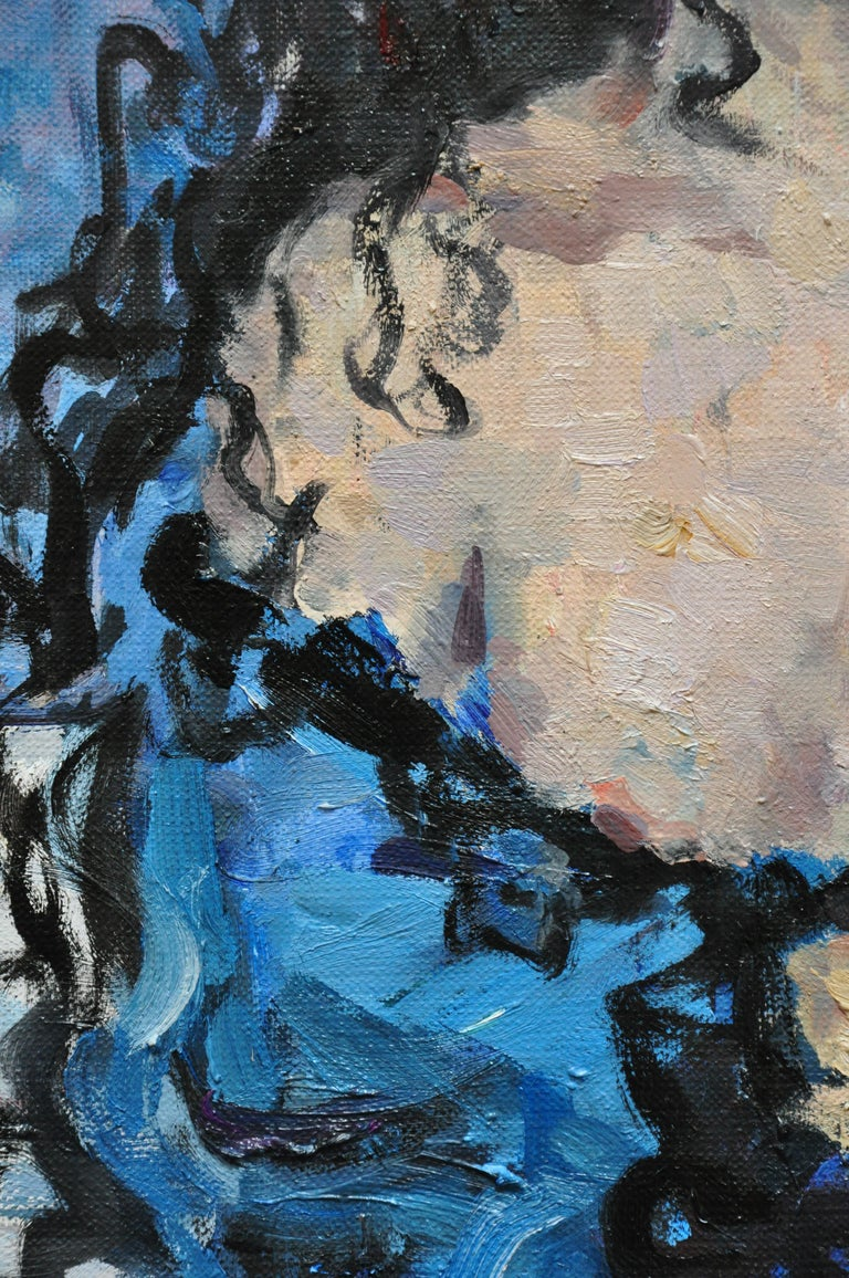 Girl With a Rose - 21st Century Contemporary Oil Female Portrait Painting For Sale 2