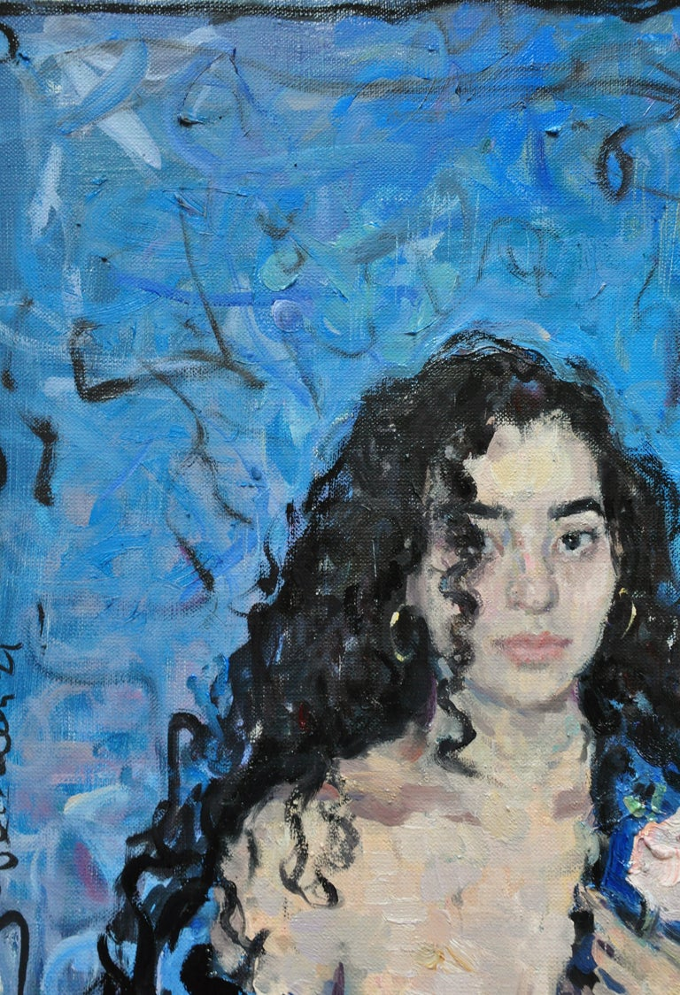 Girl With a Rose - 21st Century Contemporary Oil Female Portrait Painting For Sale 1