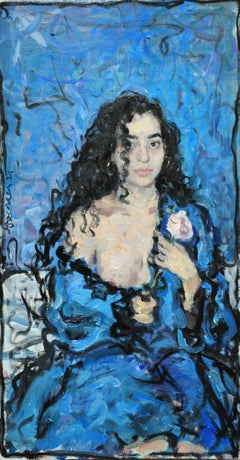 Girl With a Rose - 21st Century Contemporary Oil Female Portrait Painting