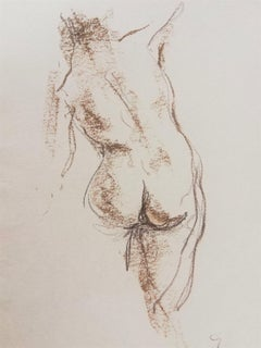 Nude Sketch Nº1 - 21st Century Contemporary Minimal Sepia on Paper Nude Drawing