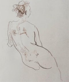 Nude Sketch Nº2 - 21st Century Contemporary Minimal Sepia on Paper Nude Drawing