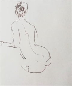 Nude Sketch Nº3 - 21st Century Contemporary Minimal Sepia on Paper Nude Drawing