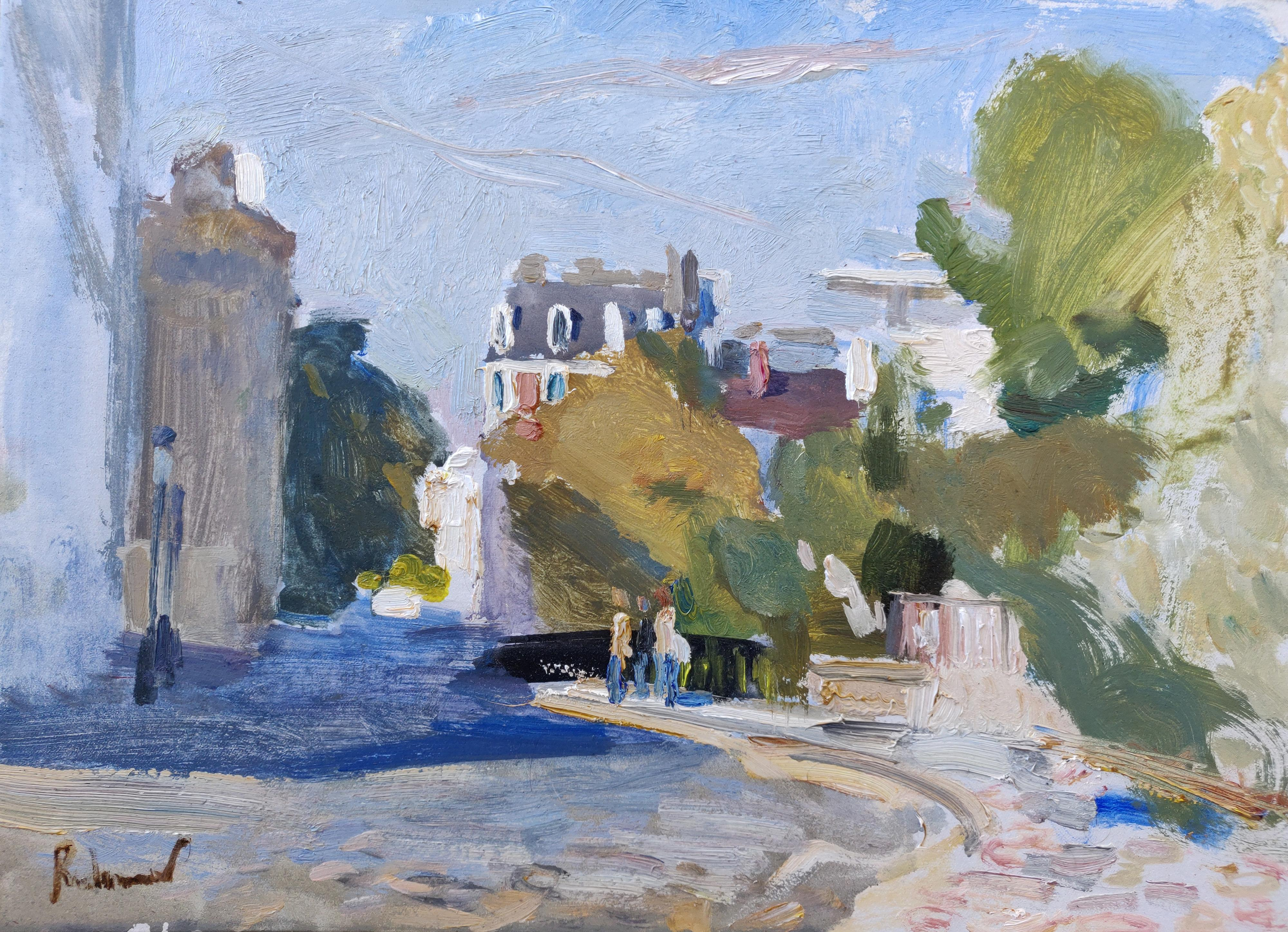 A Street In Montmartre - 21st Century Contemporary Paris Urban Oil Painting