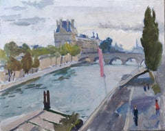 Seine. Morning - 21st Century Contemporary Paris Urban Oil Painting
