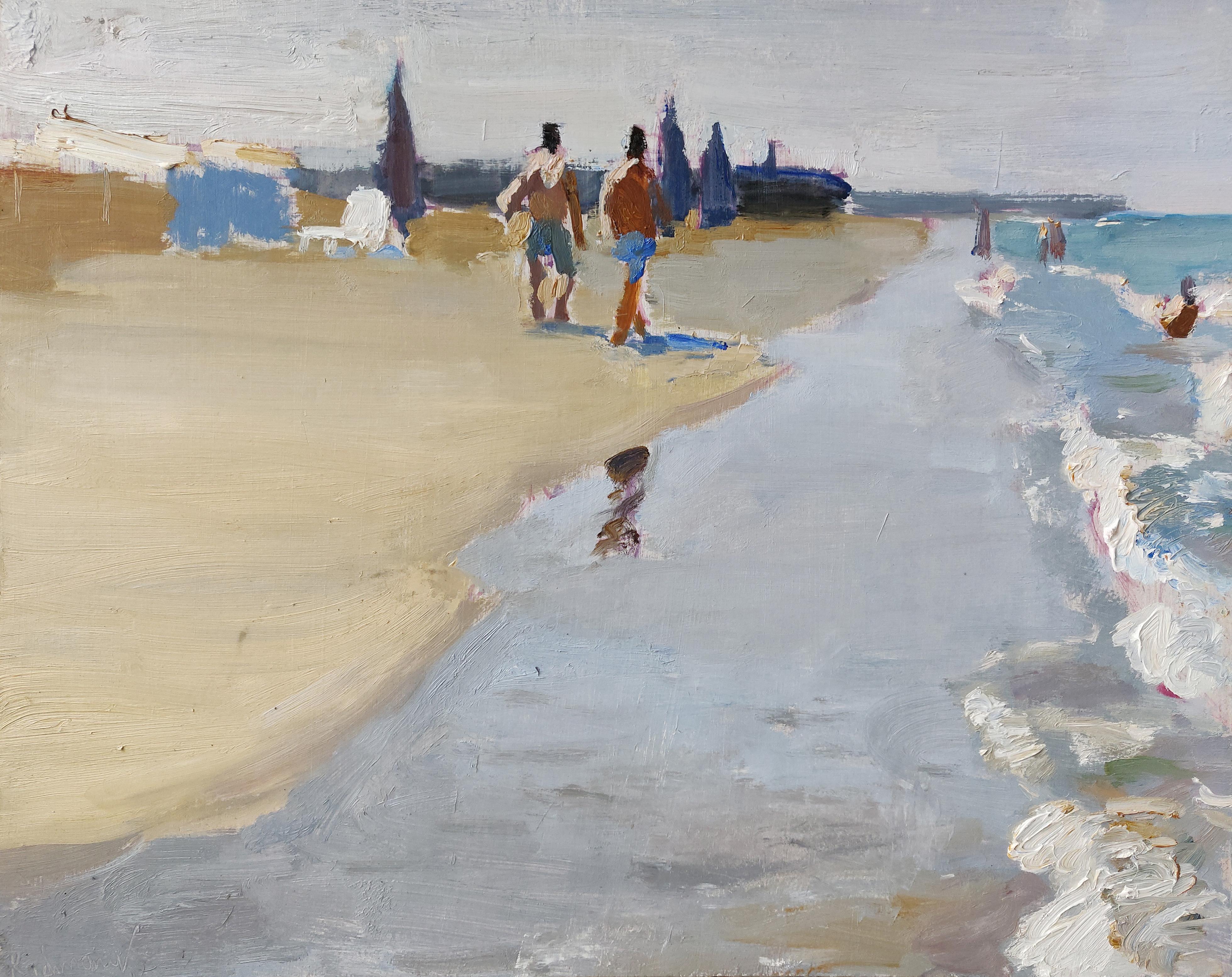 On the Beach - 21st Century Contemporary Summer Scene OIl Painting