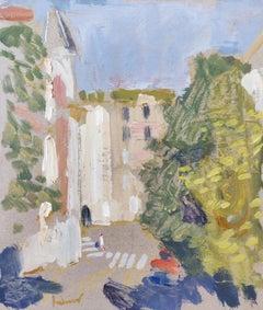 Street In Montmartre - 21st Century Contemporary Paris Urban Oil Painting