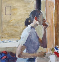 Woman in Front of a Mirror - 21st Century Contemporary Portrait OIl Painting