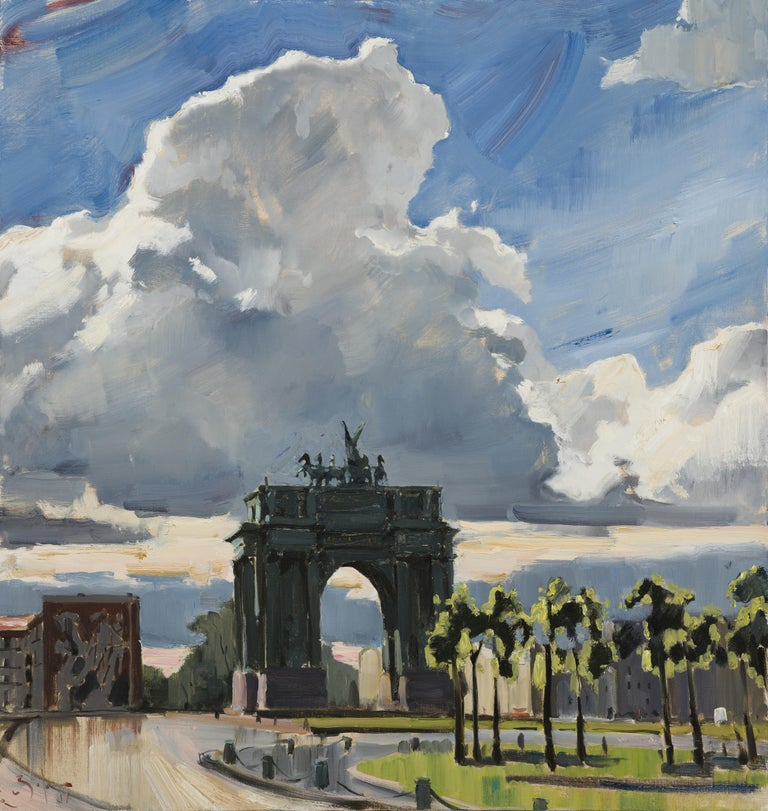 Ilya Zorkin Figurative Painting - After the Rain - 21st Century Contemporary Oil Lanscape Triumphal Arch Painting