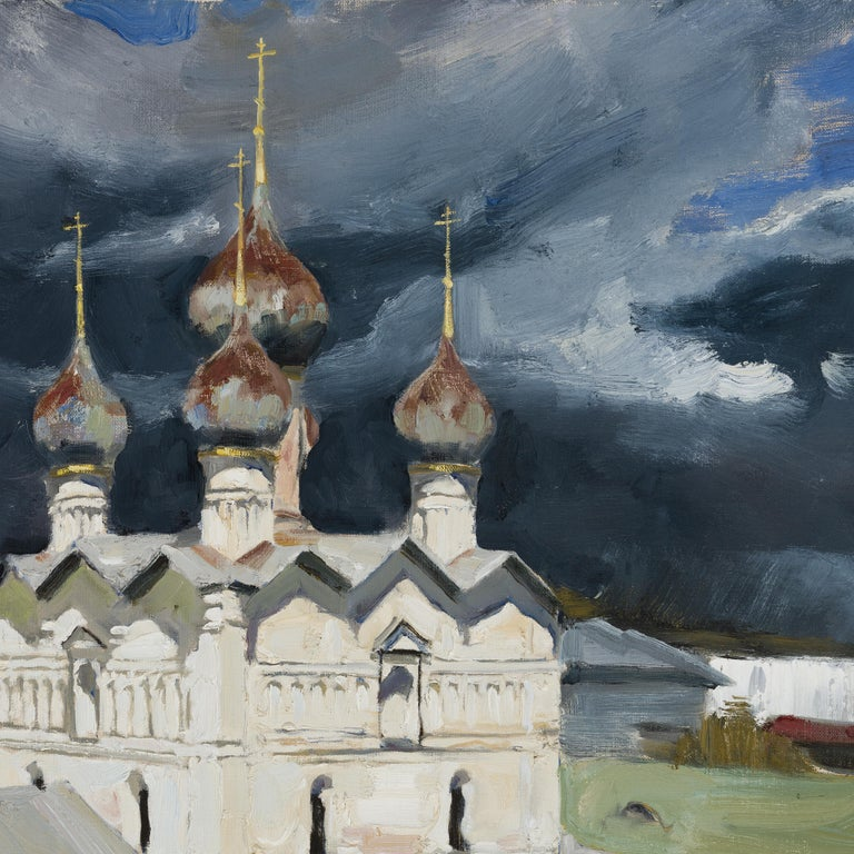 In this impressive canvas, Ilya Zorkin showcases the Rostov Kremlin standing strong in face of a thunderstorm. With the stark tonal contrast and powerful composition, the artist poetically and harmoniously juxtaposes the architectural panorama with