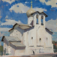 Church of Peter and Paul in Pskov - 21st Century Contemporary Oil Painting