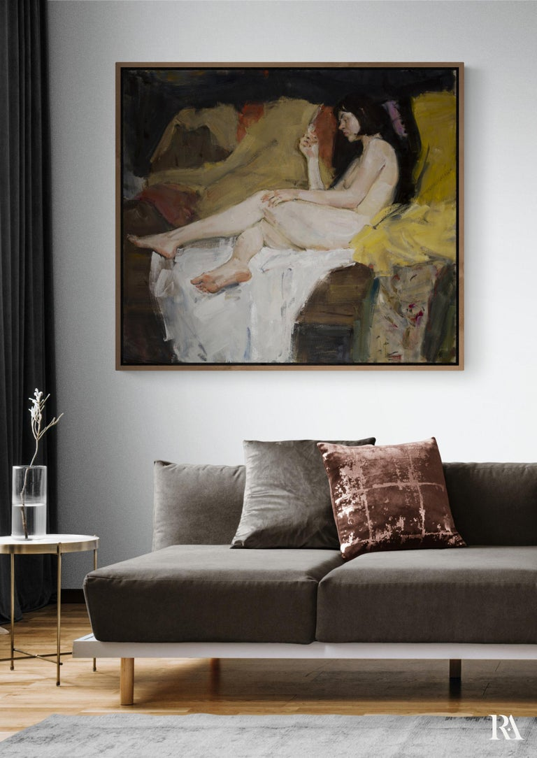 Nude - 21st Century Contemporary Classical Realist Reclining Nude Oil Painting For Sale 2