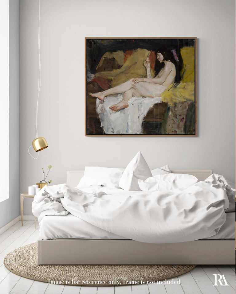 Nude - 21st Century Contemporary Classical Realist Reclining Nude Oil Painting - Black Nude Painting by Ilya Zorkin