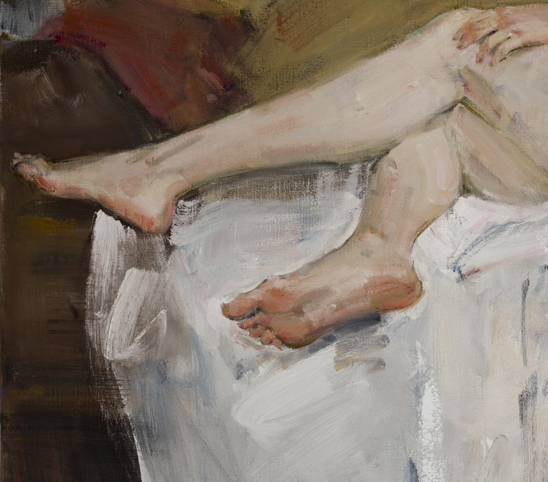 Nude - 21st Century Contemporary Classical Realist Reclining Nude Oil Painting For Sale 1