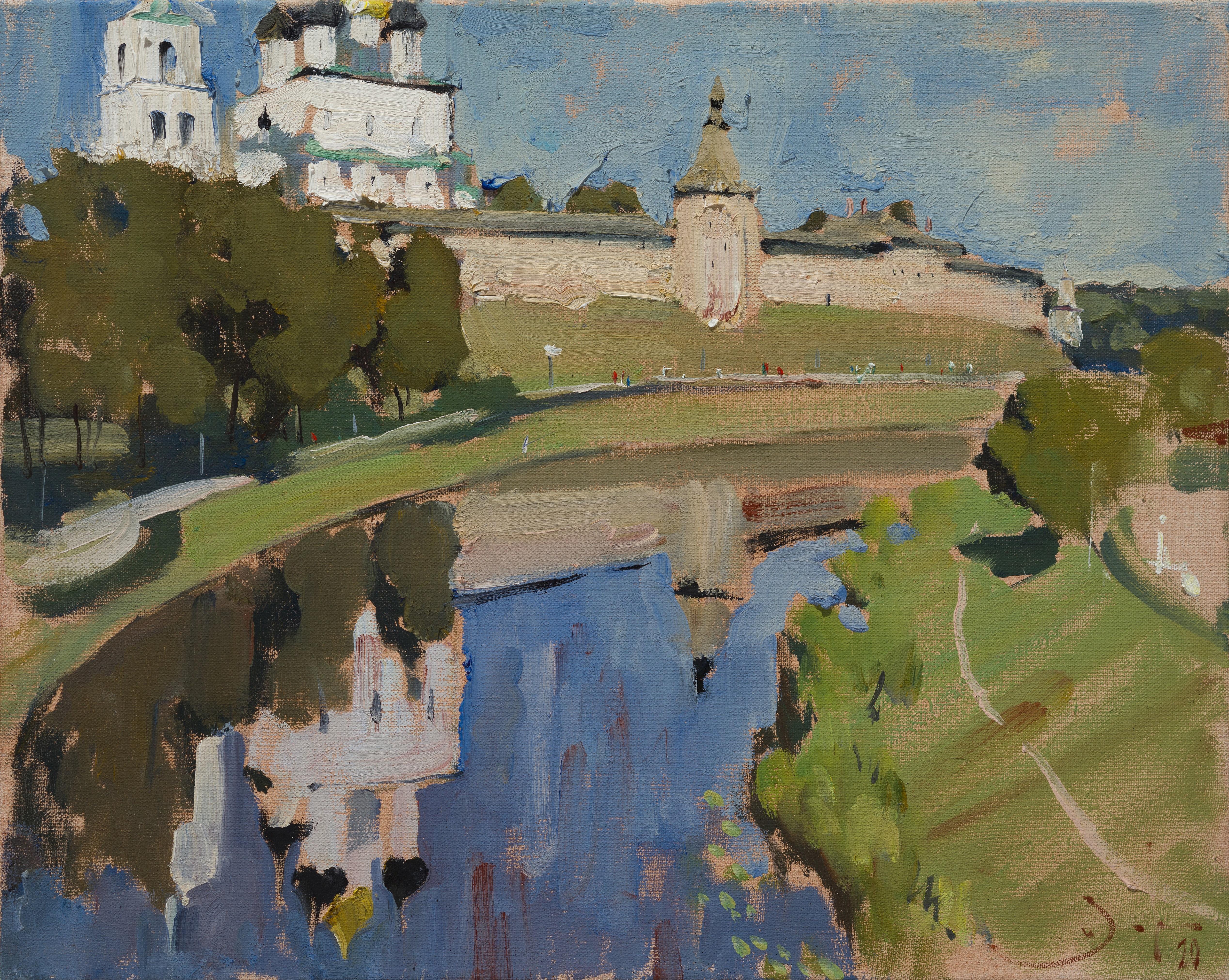 Pskov Kremlin - 21st Century Contemporary Landscape Oil Painting