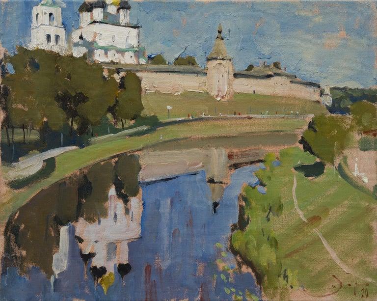 Ilya Zorkin Figurative Painting - Pskov Kremlin - 21st Century Contemporary Landscape Oil Painting
