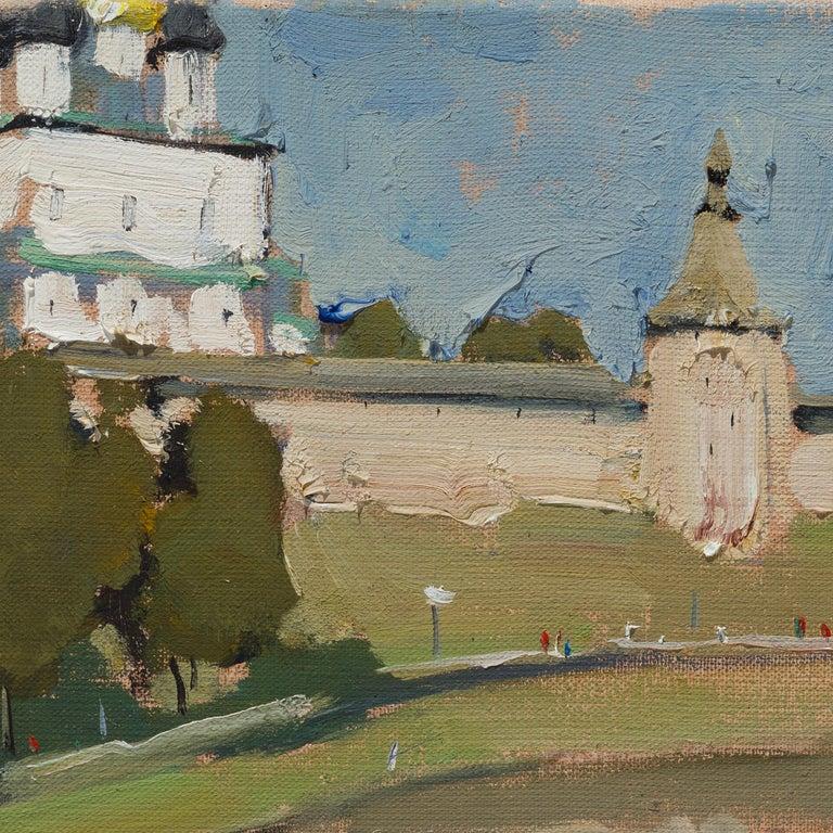 Pskov Kremlin - 21st Century Contemporary Landscape Oil Painting For Sale 1