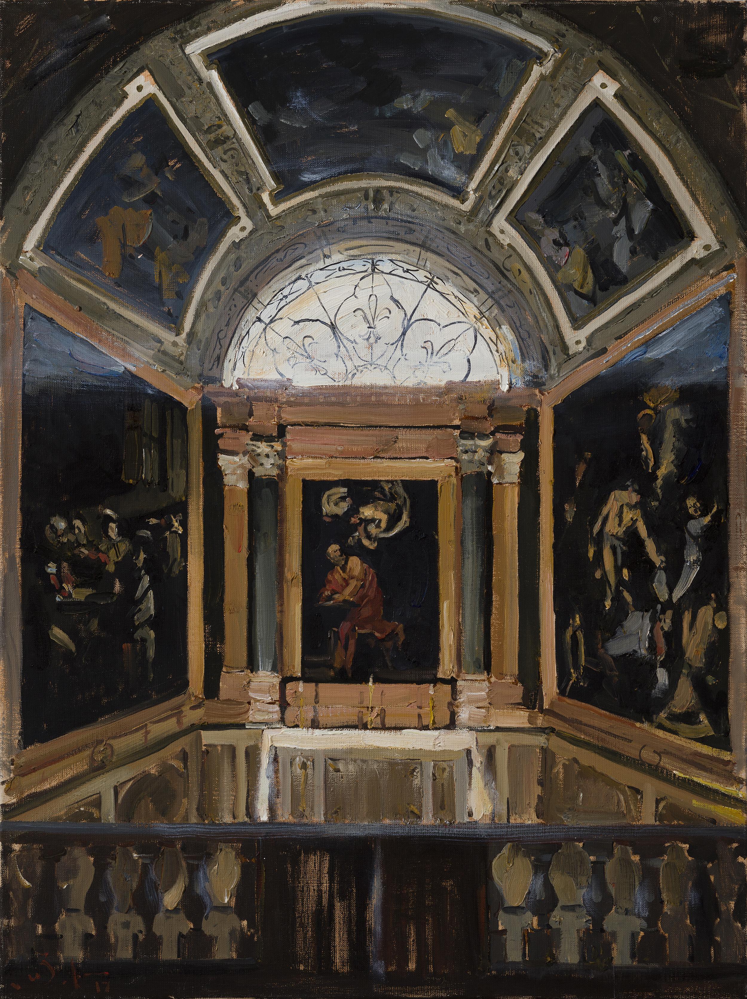 Capella Contarelli - 21st Century Contemporary Baroque Roman Church Oil Painting