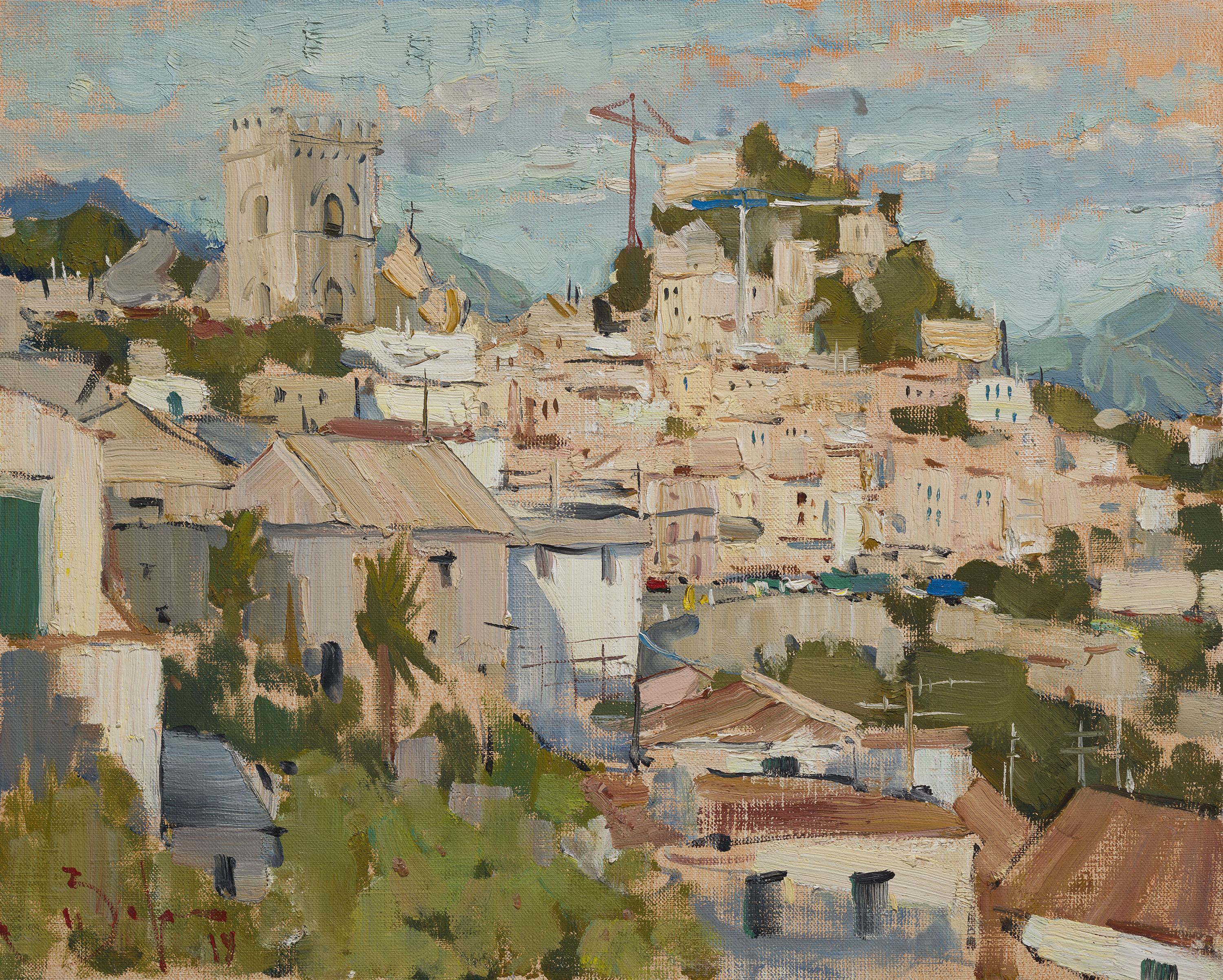 Forza d'Agro - 21st Century Contemporary Italian Vilage Landscape Oil Painting