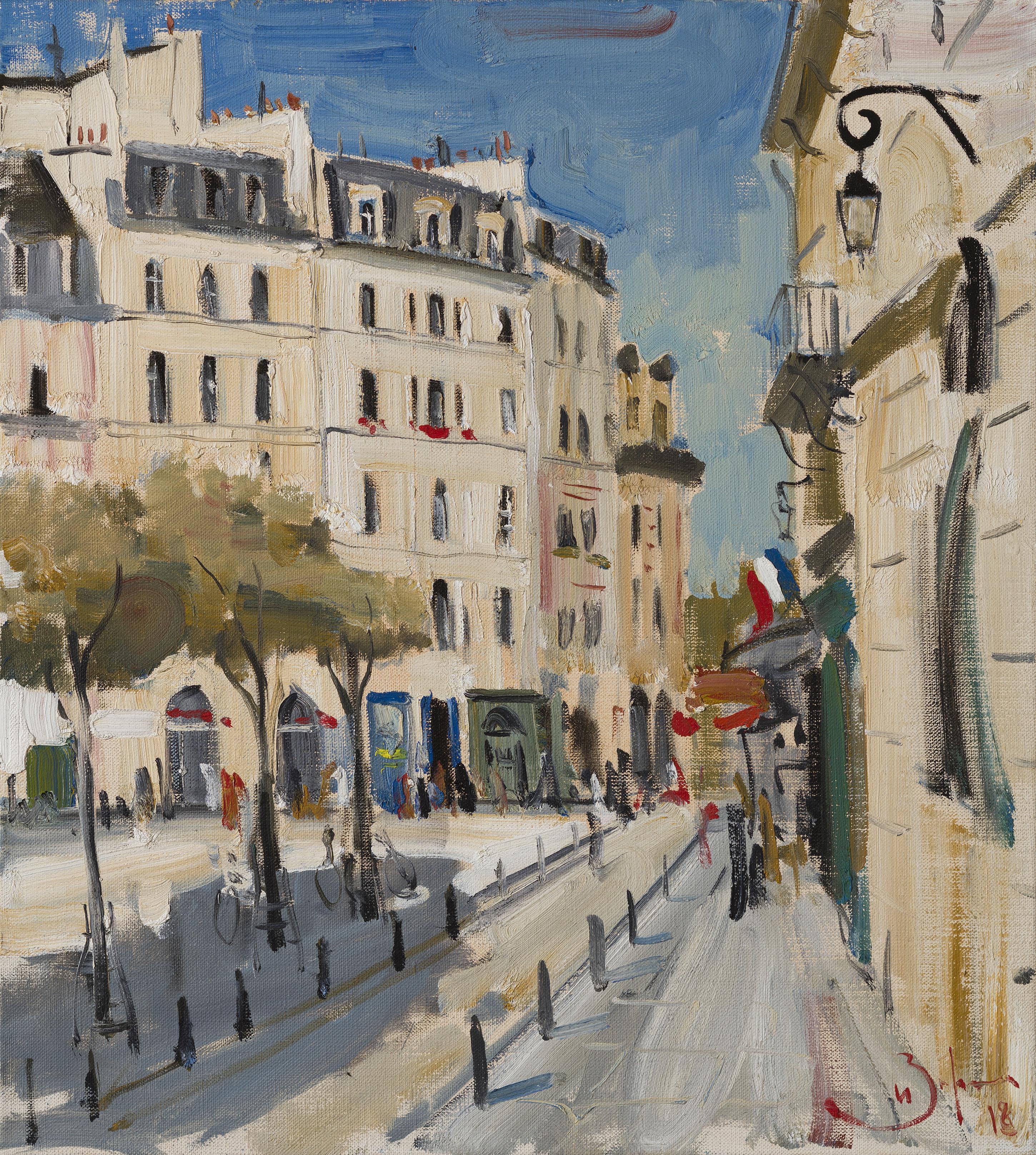 Paris. Place Dauphine - 21st Century Contemporary Urban Landscape Oil Painting
