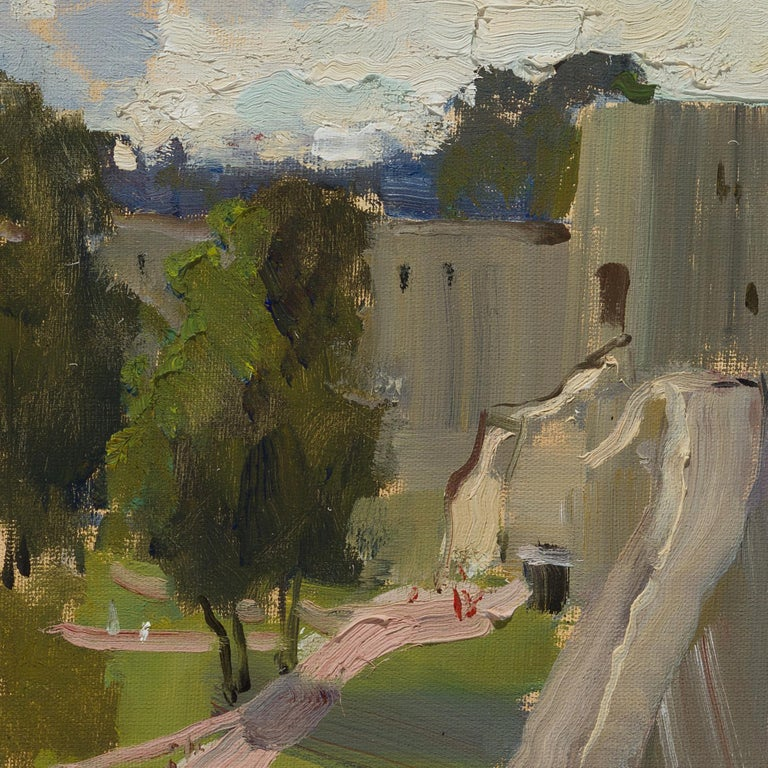 Izborsk Fortress - 21st Century Contemporary Russian Landscape Oil Painting For Sale 1