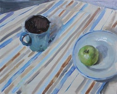 Still Life With an Apple - 21st Century Contemporary Impressionist Oil Painting