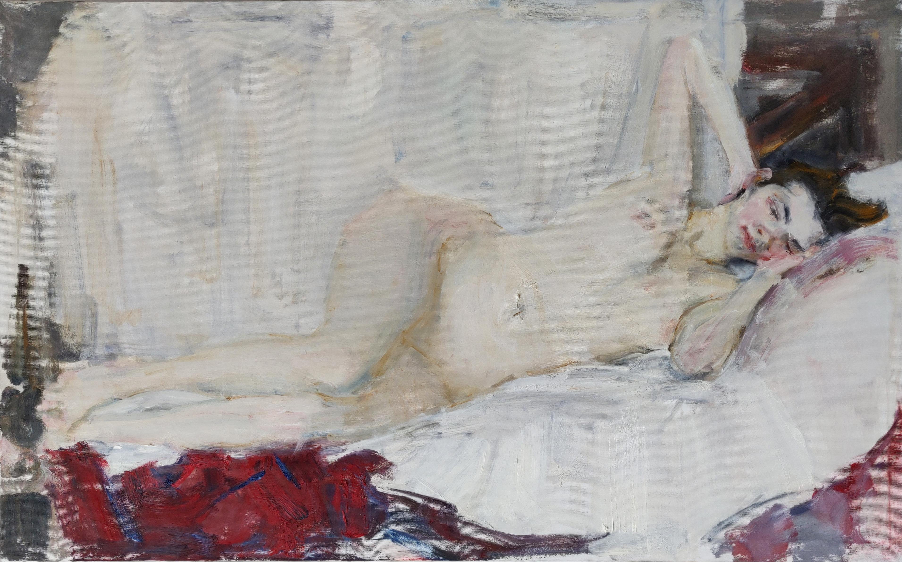 Reclining Nude - 21st Century Contemporary Impressionist Oil Painting