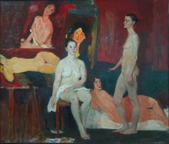 Nudes After Modigliani - 21st Century Contemporary Oil Painting Impressionism