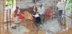Artist Friends in the Studio - 21st Century Contemporary Impressionist Painting