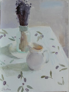 White Still Life - 21st Century Contemporary Impressionist Minimalist Painting