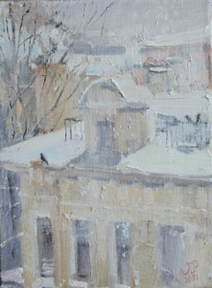 Snowy Day - 21st Century Contemporary Impressionist Urban Oil Landscape Painting