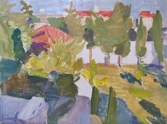 4PM in October - 21st Century Contemporary Garden Oil Painting