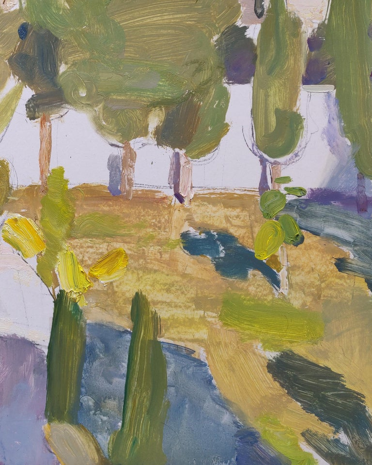 4PM in October - 21st Century Contemporary Garden Oil Painting For Sale 1