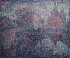 Frosty - 21st Century Contemporary Oil Expressionist Urban Landscape Painting