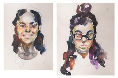 Quarantine Diptych - 21st Century Contemporary Watercolour Paintings