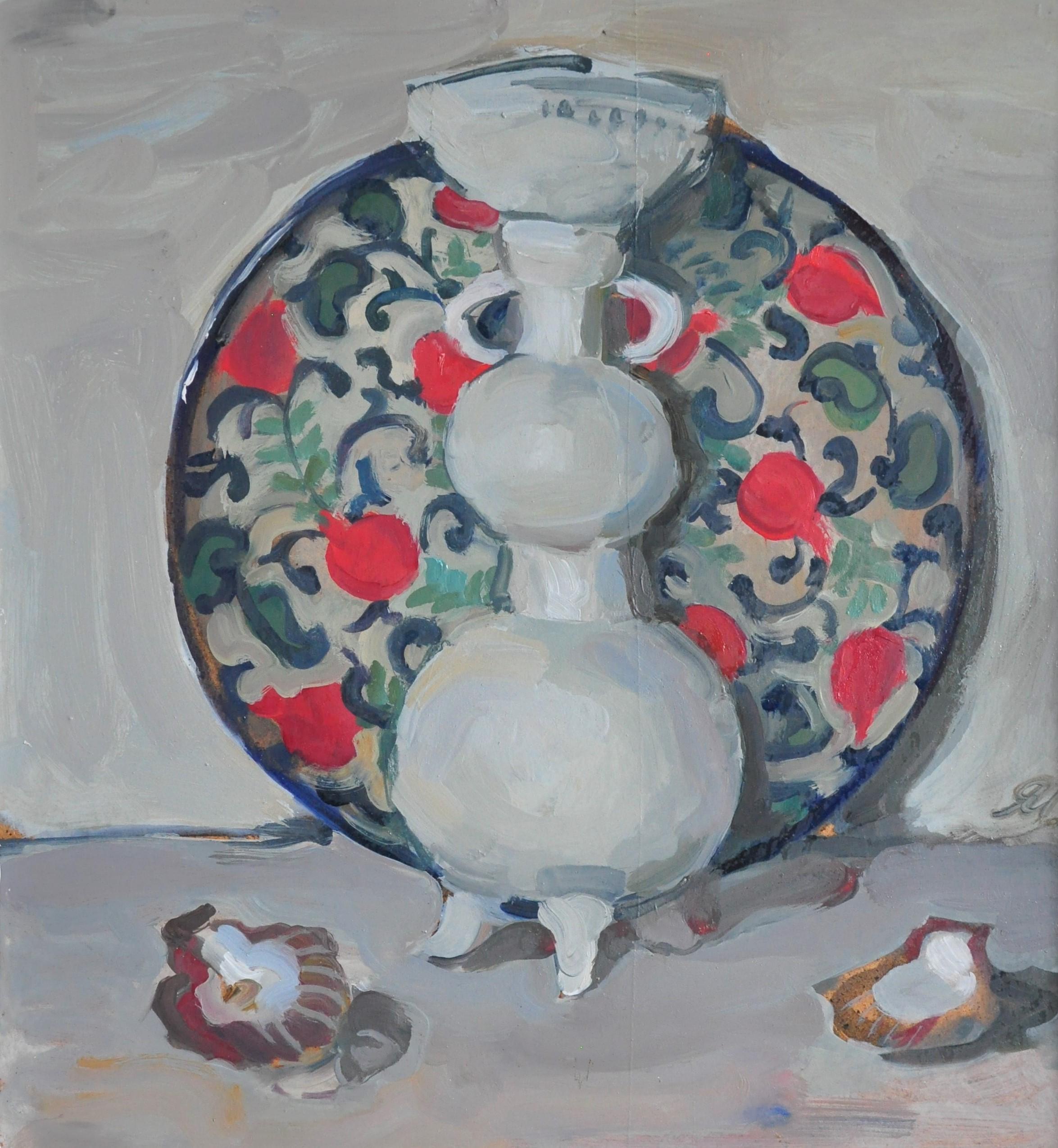 Vase and Dish With Pomegranate - Yaroslava Tichshenko 21st Century Oil Painting