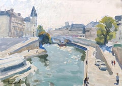 View of the Seine - 21st Century Contemporary Paris Impressionist Oil Painting