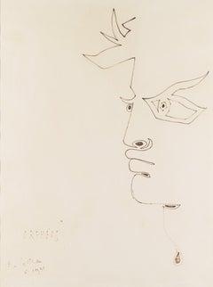 """Orphéus "" profil .original drawing by Jean Cocteau . certified ."