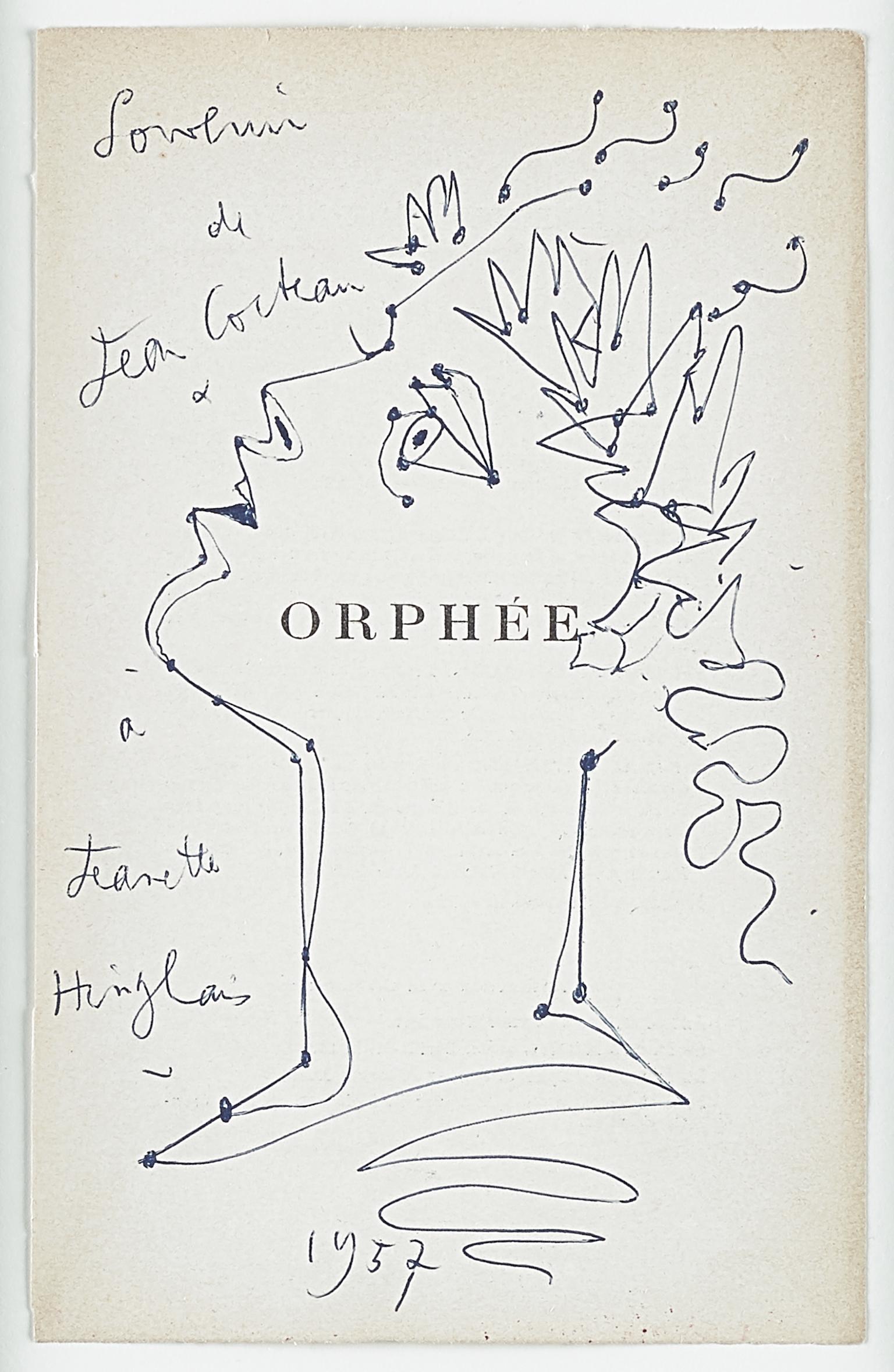 "original drawing ""ORPHEE "" . "" profile of Orpheus with laurels "" .certified ."