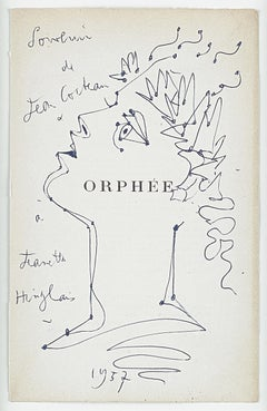 "original drawing ""ORPHEE "" . "" profile of Orpheus with laurels "" .certified ."