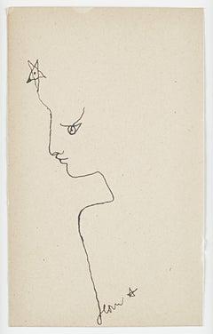 "original drawing  ""profil à l'étoile "" ."" Star profile "" . certified ."