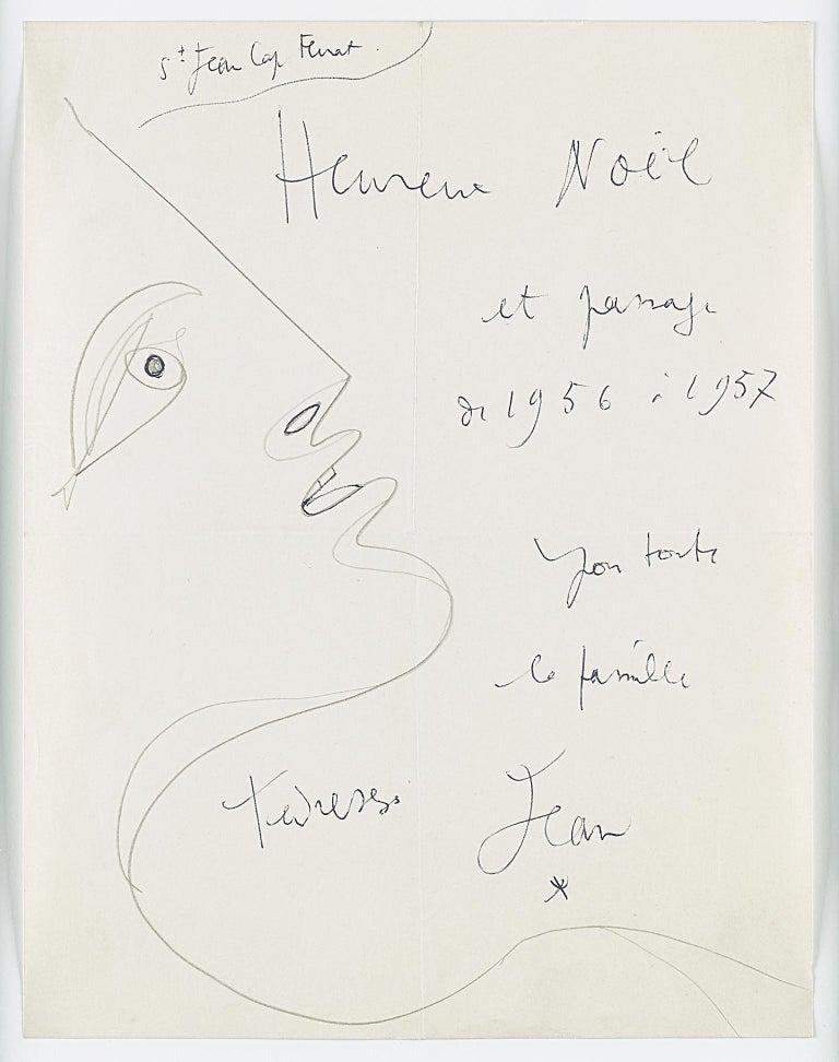 """Jean Cocteau Portrait - original drawing """" profil droit  """" """"merry Christmas """" . certified"""