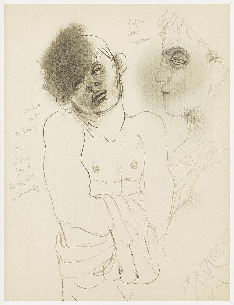 """Jean Cocteau Portrait -  """" Lifar était Massine """" original drawing ."""" two characters """" .certified ."""